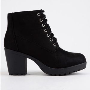 Soda Lace Up Suede Booties with Zipper
